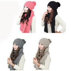 PS Mall 韓版女士百搭毛線圍巾帽子套裝【G2489】
