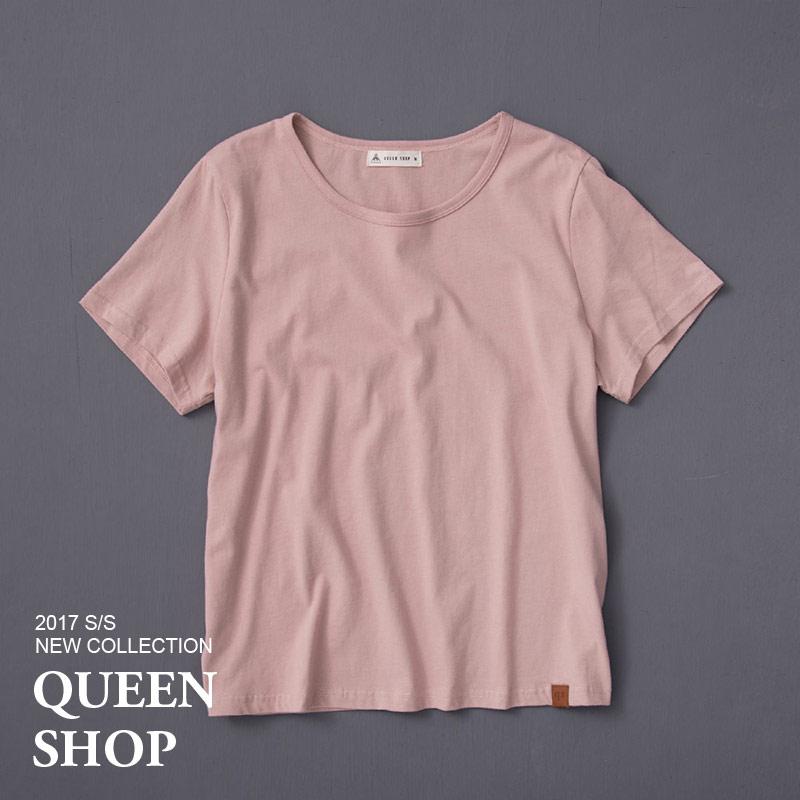 Queen Shop~01036070~女裝 原創純棉皮標素面上衣 五色售 S M L ~