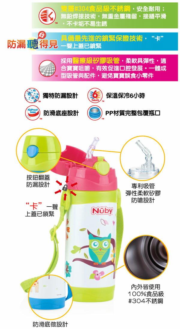 『121婦嬰用品』Nuby不鏽鋼真空真空背帶水壺-長頸鹿(細吸管) 360ml 2