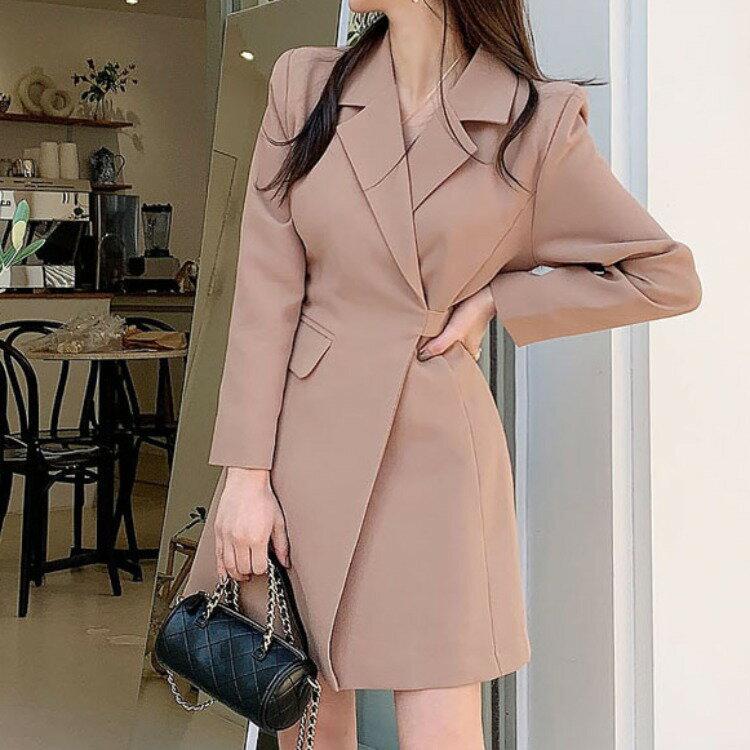 2021新款韓版修身氣質西裝領收腰顯瘦時尚簡約職業西裝外套