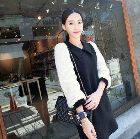 ~漂亮小媽咪~韓國 彼得潘領子 加厚毛呢 煙花絨袖孕婦裝 洋裝 孕婦裙 XD1797