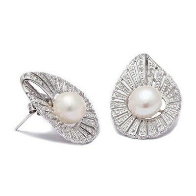 ~925純銀耳環鑲鑽耳飾~高貴 葉子 母親節生日情人節 女飾品73dm193~ ~~米蘭