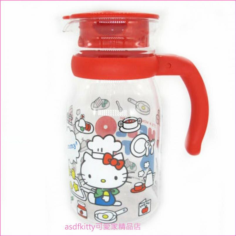 asdfkitty可愛家☆KITTY紅廚師耐熱玻璃壺-805ML-台灣授權正版商品