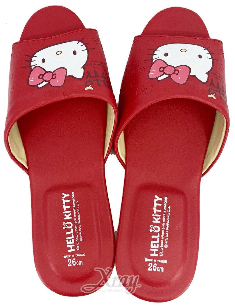X射線~C234341~KITTY室內拖鞋 皮~紅色 ,兒童拖鞋  室內拖鞋  舒適拖鞋