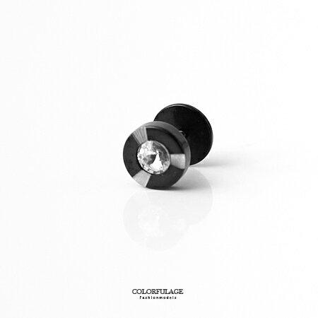 耳環 低調黑閃耀水鑽10MM鋼製耳針耳環 中性感實搭 柒彩年代~ND287~抗過敏