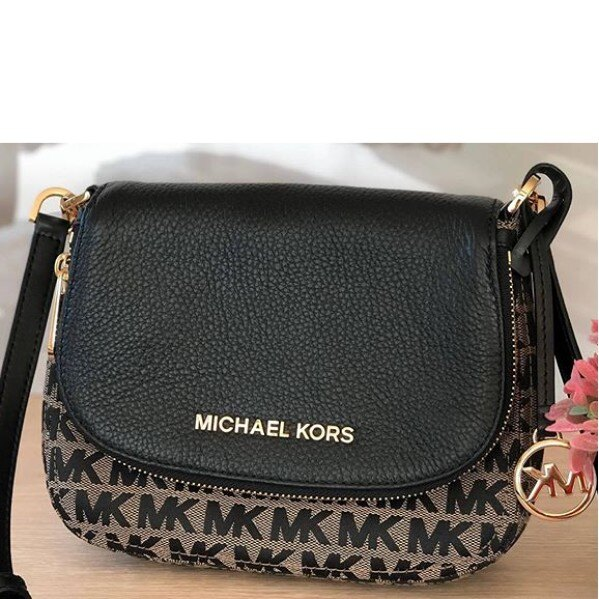 MICHAEL KORS MK 黑灰色織布拼接黑色真皮 斜背包 馬鞍包 側背包~M39641