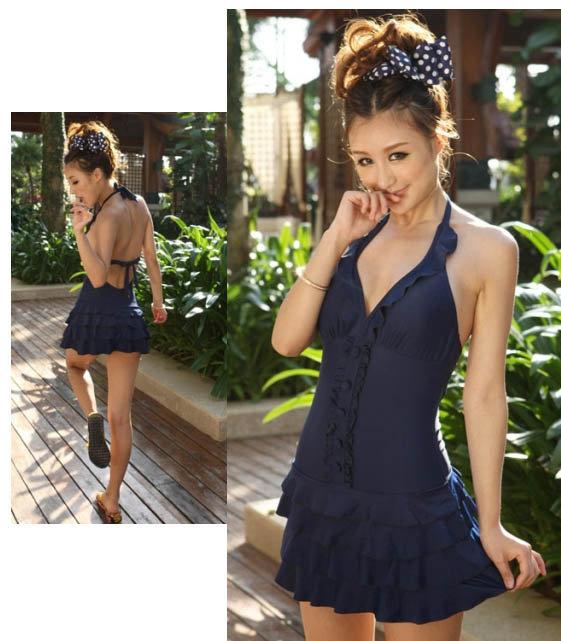 *來福*G33韓國明星款深藍連身泳衣比基尼泳裝加大泳衣,1套售價980元