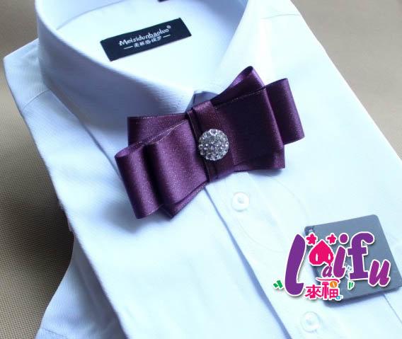 來福,k101紫色大鑽結婚領結領花新郎領結,售價200元