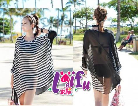 來福,V35雪紡黑白雙色長款遮屁屁超大罩衫可內搭游泳衣泳裝比基尼,售價390元