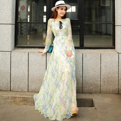 連身裙長袖洋裝-波希米亞風雪紡印花長款女連衣裙73pu54【獨家進口】【米蘭精品】
