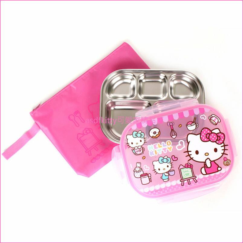 asdfkitty可愛家☆KITTY小畫家樂扣型有蓋304不鏽鋼餐盤便當盒-附外出袋-韓國製