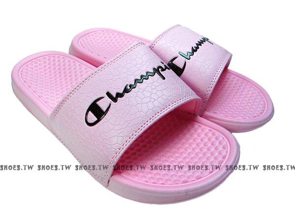 Shoestw【823250266】CHAMPION拖鞋運動拖鞋爆裂紋粉紅黑男女尺寸