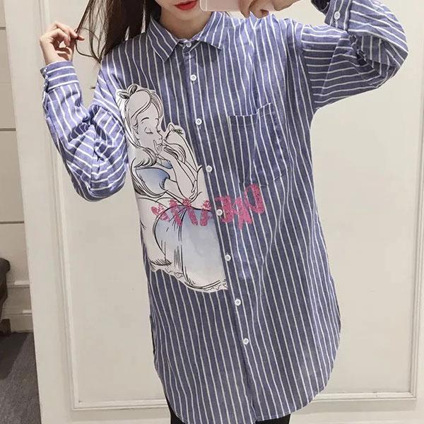 愛麗絲 男友襯衫 寬鬆長版 條紋 愛莉絲 艾莉絲 艾麗絲 卡通 迪士尼