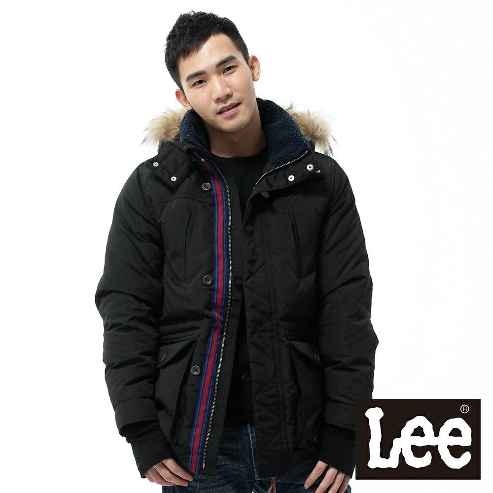 【上衣↘2.5折】Lee羽絨外套 拼接可拆帽長版 -男款-黑【12/1-31 單筆滿1000結帳輸入序號 XmasGift-100 再折↘100】