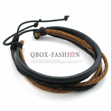 QBOX Fashion 飾品:《QBOX》FASHION飾品【W10022707】精緻個性潮流多層次皮革手鍊手環