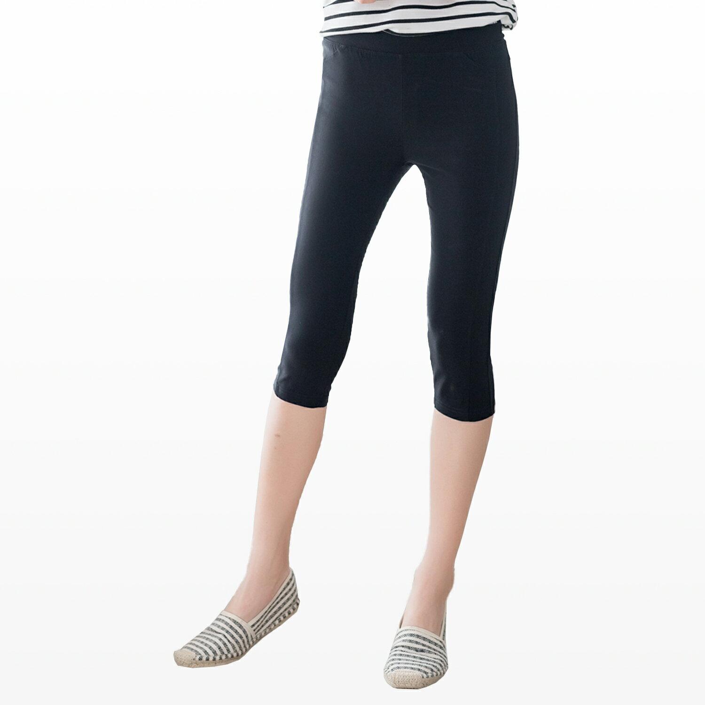 顯瘦--簡約個性修長美腿側邊車線寬版鬆緊褲頭七分彈性棉褲(黑M-5L)-S32眼圈熊中大尺碼 1