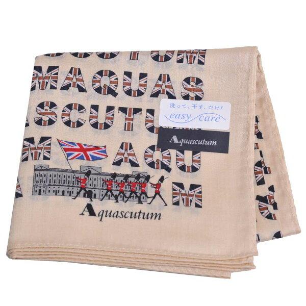 Aquascutum品牌字母英國旗圖騰LOGO優雅帕領巾(米卡其系)