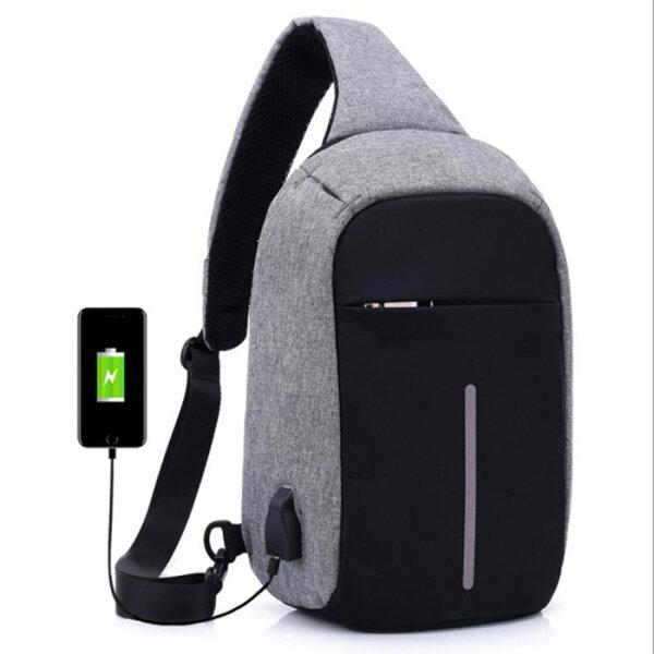 糖衣子輕鬆購【DZ0334】歐美新款USB防盜胸包斜跨包戶外運動包單肩包