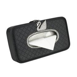美琪 汽車創意紙巾盒椅背掛式 可愛天鵝鑲鑽汽車內飾用品