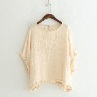 短袖T恤木耳邊上衣-簡約純色優雅圓領女打底衫4色73sy10【獨家進口】【米蘭精品】