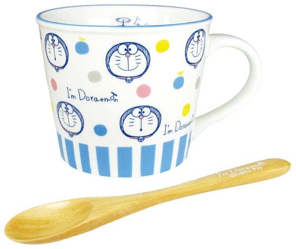 X射線【C071692】哆啦A夢Doraemon馬克杯附木製湯匙,水杯馬克杯杯瓶茶具湯杯玻璃杯不鏽鋼杯漱口杯