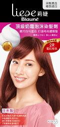 莉婕頂級奶霜泡沫染髮劑 2R莓紅棕色 40ml+60ml+8g
