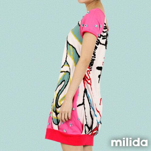 【Milida,全店七折免運】-夏季商品-拼貼款-插畫情人洋裝 4