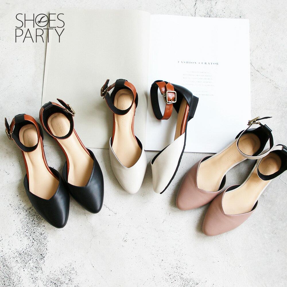 【S2-19305L】寬腳版可穿,配色腳踝帶真皮便鞋_Shoes Party 0