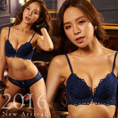 內衣 法式玫瑰蕾絲成套內衣組(四色:藍、象牙白、酒紅、黑)-胸罩_蜜桃洋房 2