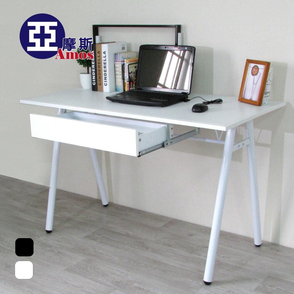 電腦桌 辦公桌 書桌【DCA009+DR】環保粗管120公分加抽屜-仿馬鞍A型大桌面工作桌【2色可選】 Amos 台灣製造 0