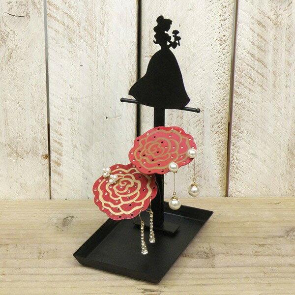 日本迪士尼美女與野獸珠寶盤首飾架展示架拍攝道具擺飾貝兒090367