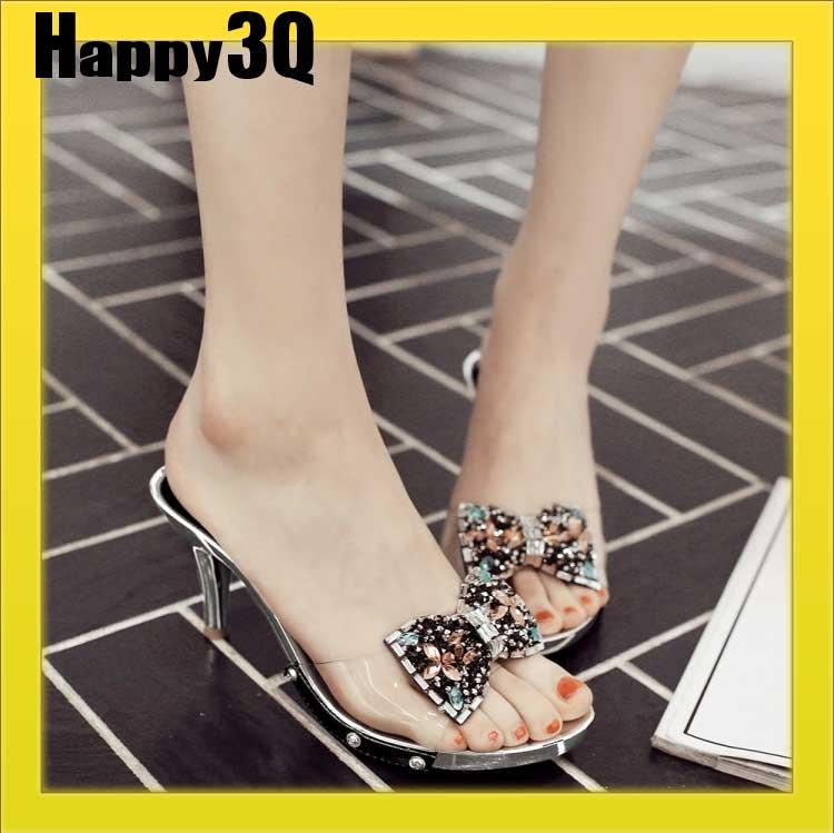透明PVC水晶蝴蝶結露趾高跟涼鞋拖鞋-金/黑35-39【AAA0494】