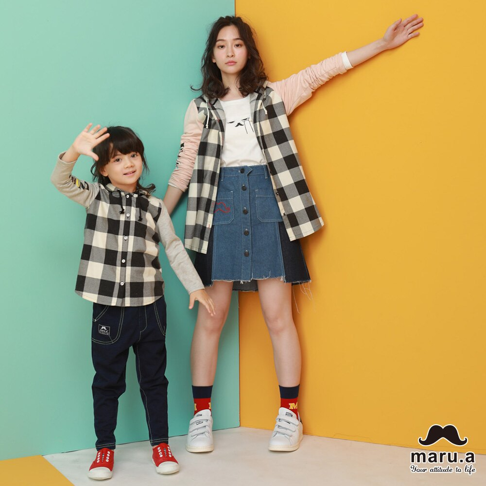【maru.a】親子款多色印花袖格子休閒帽T-SHIRT(2色)8923112 / 8953111 0