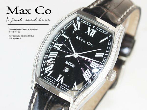 【完全計時】手錶館│Max Co 時尚酒桶酒樽造型晶鑽皮錶 白MA335-1M 瑞士石英機芯 禮物