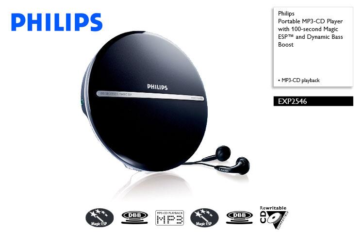 飛利浦 Philips EXP2546 (附台灣製國際電壓變壓器+收納袋) MP3 CD播放機 語言學習的最佳利器
