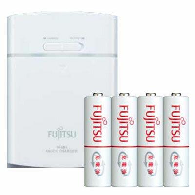 日本 Fujitsu 富士通 FSC342FX 智慧型急速充電器(附AA 3號 Min 1900mAh 4入)  兼行動電源 (2合1)