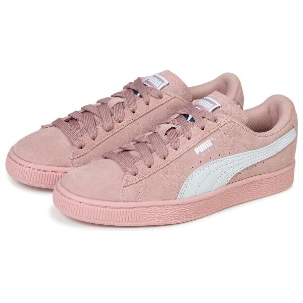 PumaSuedeClassic女鞋慢跑休閒麂皮粉白【運動世界】35546267