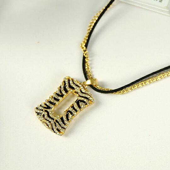 太妃糖 波西米亞斑馬紋方型水鑽長鍊