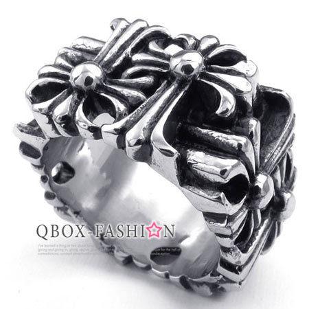 《 QBOX 》FASHION 飾品【W10022997】精緻個性方形克羅心十字鏤空鑄造316L鈦鋼戒指/戒環