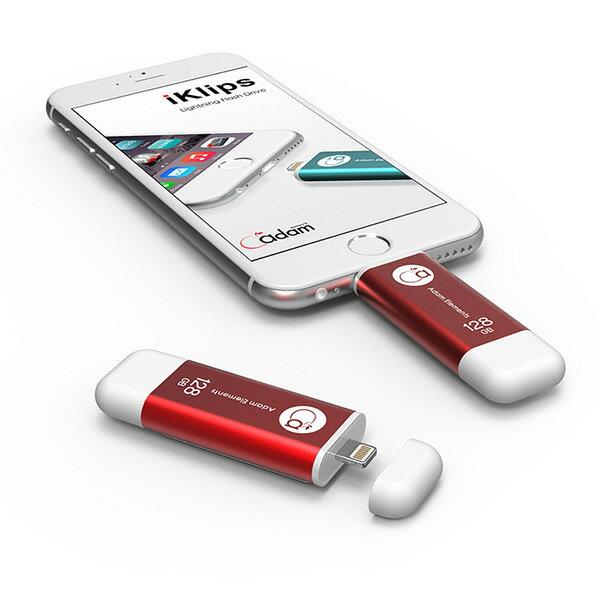 【亞果元素】iKlips iOS系統專用USB 3.0極速多媒體行動碟 128GB 紅色 for iPhone 3