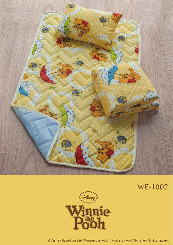 【淘氣寶寶】迪士尼三件單人睡墊組 兒童棉被 兒童睡袋 幼兒園 午休睡袋 午睡袋-黃底維尼