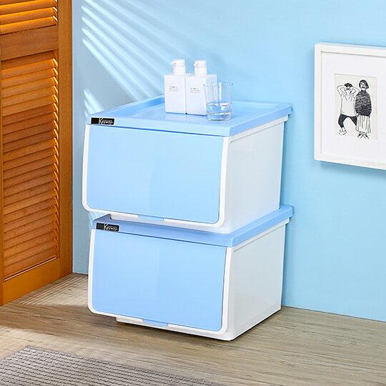聯府KEYWAY(39L)OPEN直取式收納箱(HG-396) 換季收納衣物收納置物箱 可疊式附輪置物櫃(依凡卡百貨)
