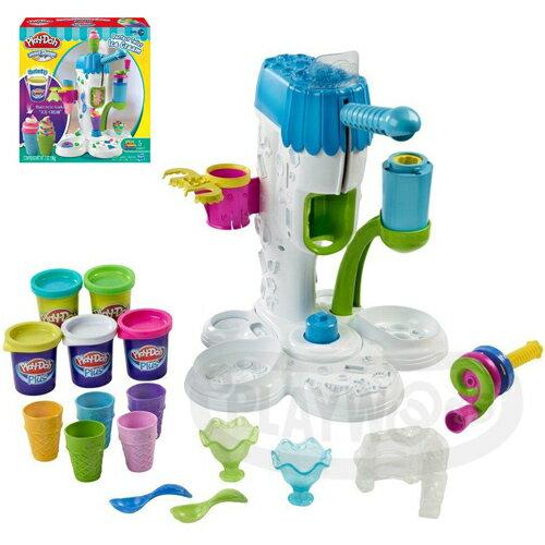 【Playwoods】[培樂多黏土PLAYDOH]霜淇淋機遊戲組Perfect Twist Ice Cream Playset(內含5罐黏土&模具/安全無毒/DIY)
