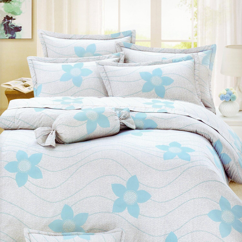 【名流寢飾家居館】花漾曲線(藍).100%純棉.雙人兩用鋪棉被套.全程臺灣製造