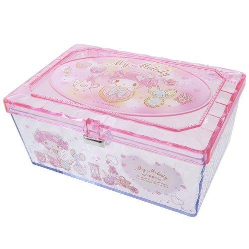 【真愛 】4930972481834 透明小物收納盒-MM下午茶粉GAB 美樂蒂melody 飾品盒 收納盒 收納罐 置物罐 儲物罐 桌上收納