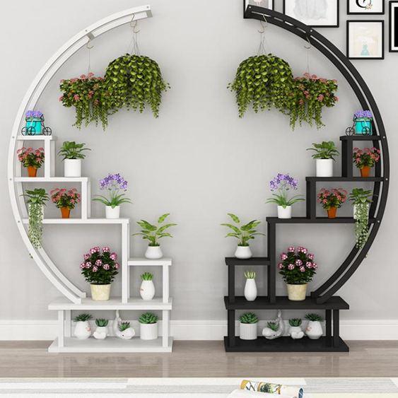 花架 圓形花架子室內客廳簡約花架置物架可行動陽台鐵藝多層落地式