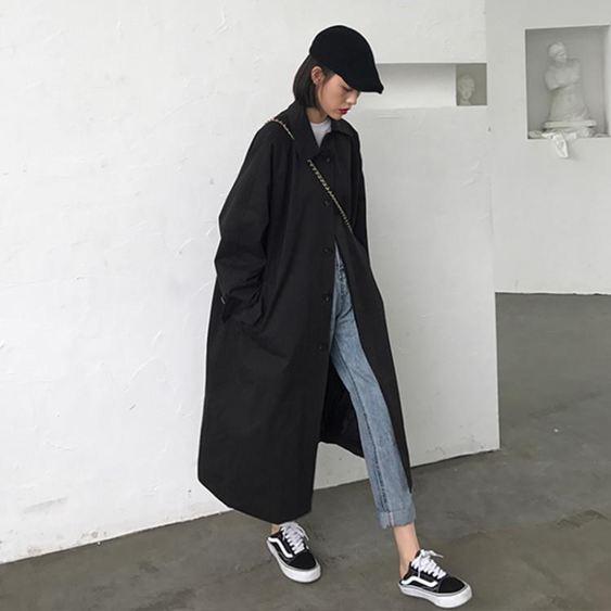 風衣女 秋裝2019新款時尚過膝中長款寬鬆復古港風休閒長袖風衣外套女裝潮