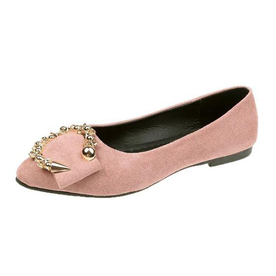 單鞋女夏款時尚尖頭百搭圓扣一腳蹬休閒平底女士豆豆鞋子