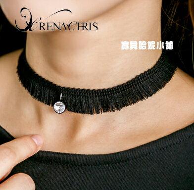 BHI1219~法國品牌RenaChris 韓國布藝流蘇晶鑽性感頸鍊 項鍊~韓國製~