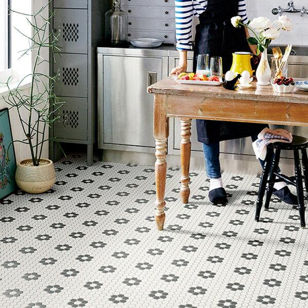 黑白馬賽克紋家用PVC地板革卷材SHM-1116